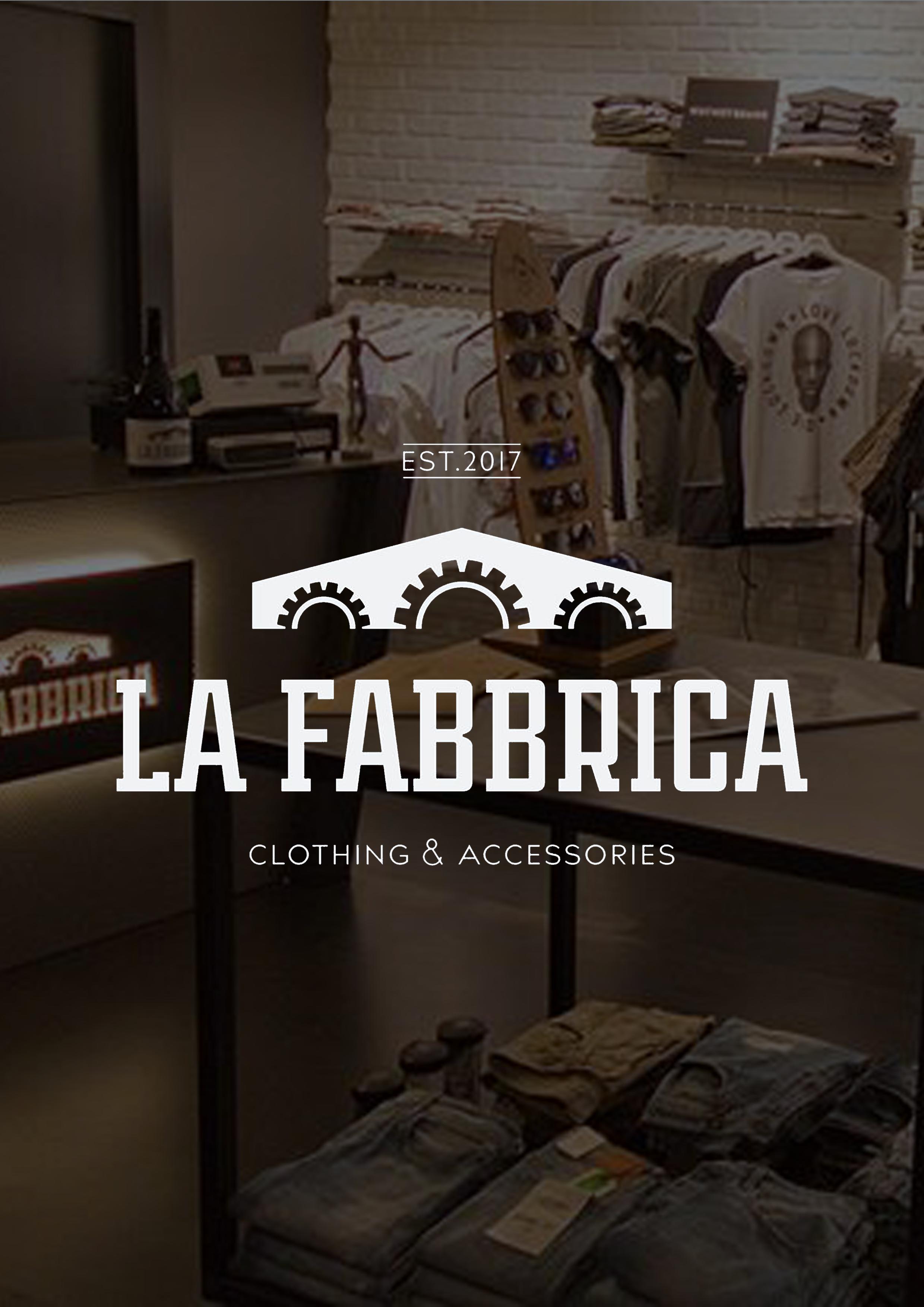 Immagine di copertina del progetto La Fabbrica con interno del negozio e logo in primo piano