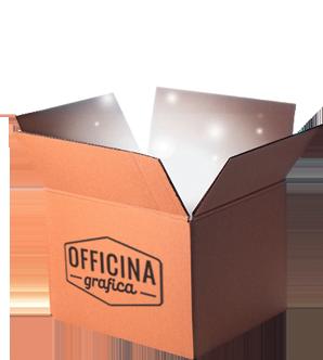 Scatola di cartone con logo Officina Bianchifanciulli aperta