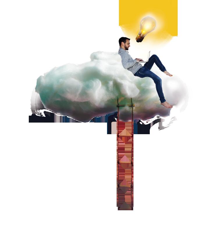 Bianchi Fanciulli che lavora su una nuvola